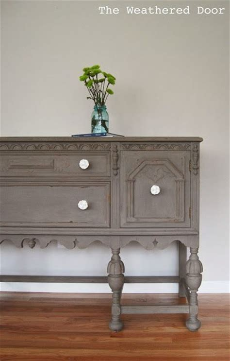 a driftwood buffet makeover with white knobs chalk paint apartment style