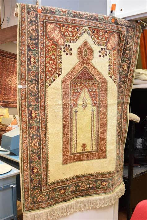 chandelier rug a mosque chandelier design wool prayer rug some wear to cen