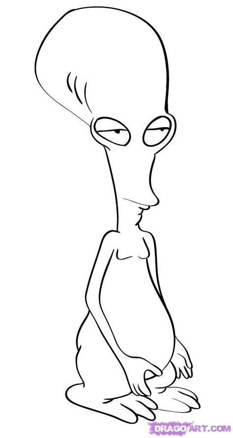 how to draw roger the alien from american dad step by