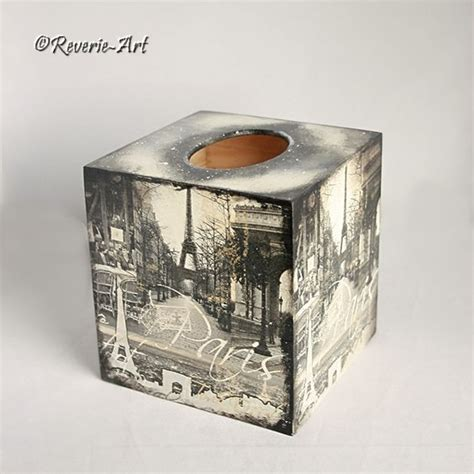 Decoupaged Boxes - sold wintertime in decoupaged tissue box cover