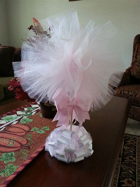 tulle topiary pink tulle topiary baby shower centerpiece baby