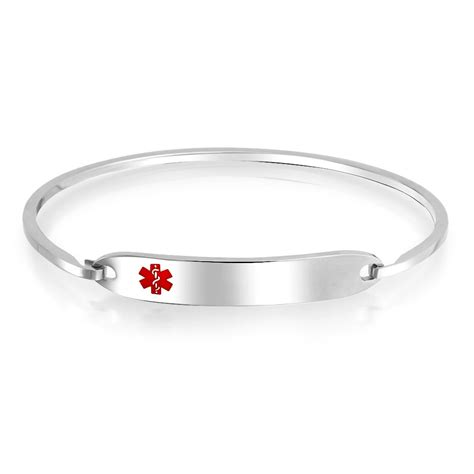 Womens Medical Alert ID Tag Bangle Bracelet Stainless Steel 7in