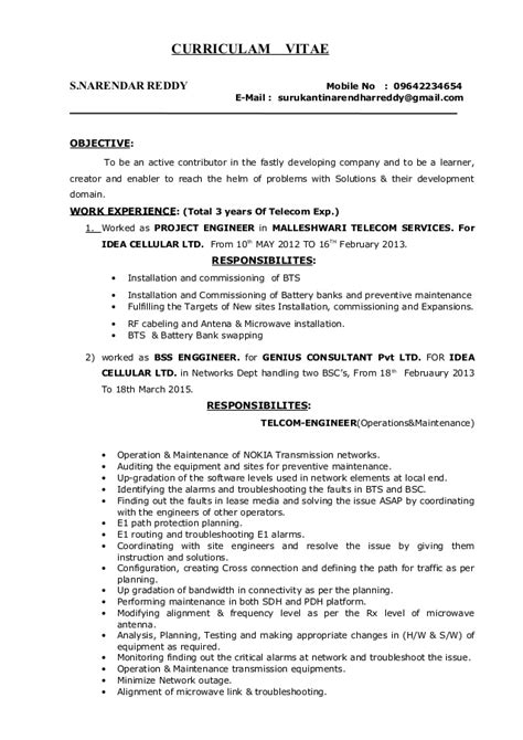 Resume Of Project Manager In Telecom Surukanti Narendar Reddy Telecom Project Manager Resume 1