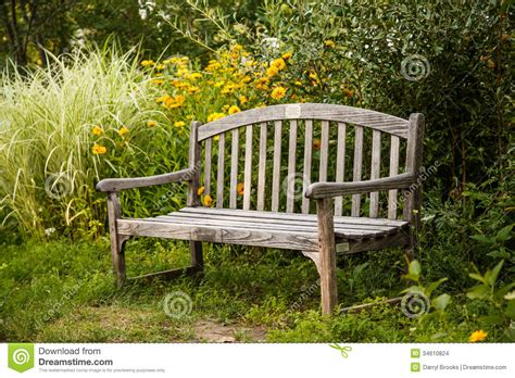 bench in garden old wooden bench in garden stock photo image of bench