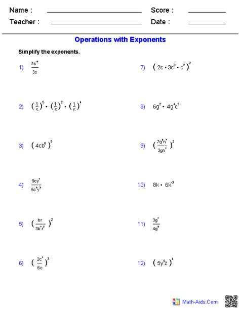 Laws Of Exponents Worksheet by Algebra 1 Worksheets Exponents Worksheets