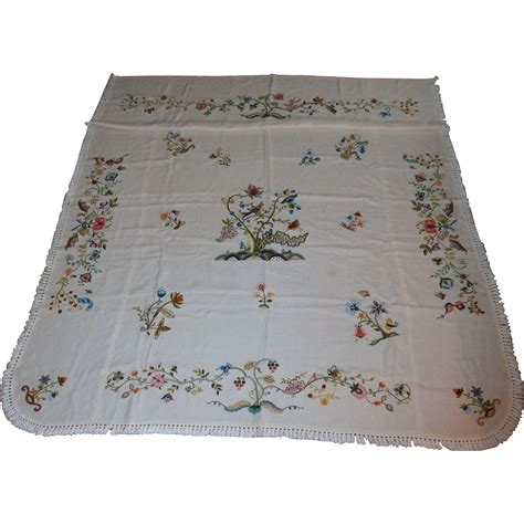 Embroidered Bedspreads Embroidered Linen Bedspread From