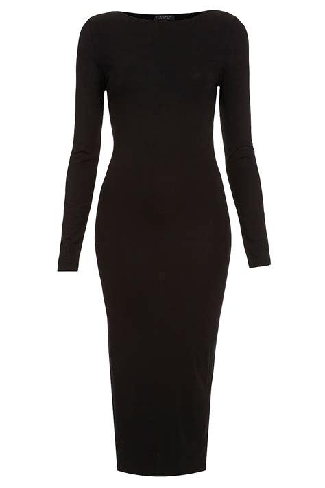 Plain Bodycon Dress topshop plain midi bodycon dress in black lyst