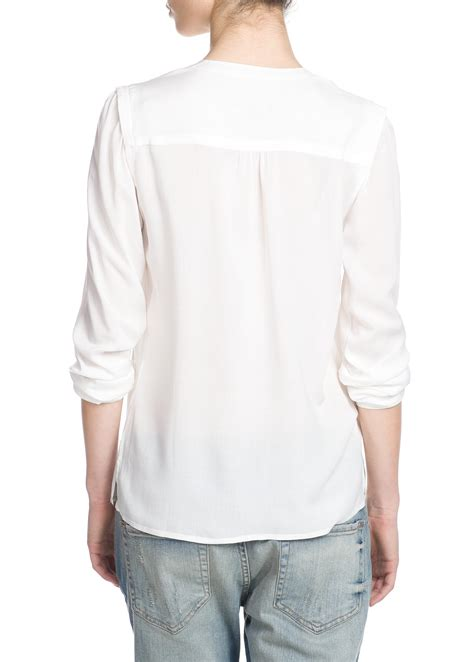 lyst mango flowy shirt in white