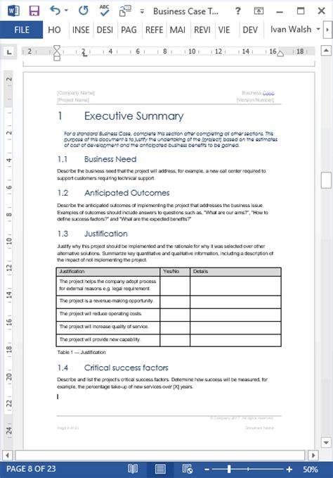 modele business case wordexcel modeles pour excel