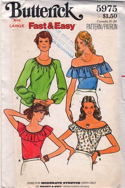 Shoulder Blouse Salem butterick 5975 1970s misses easy summer tops pattern