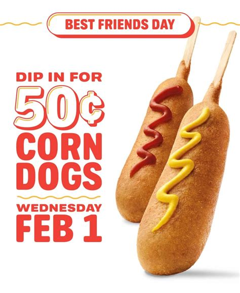 sonic 50 cent corn dogs sonic drive in 50 cent corn dogs all day wednesday feb 1 shopportunist