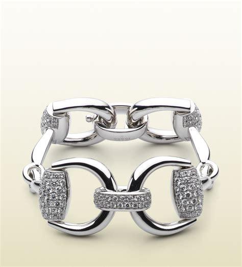 gucci horsebit bracelet in silver white lyst