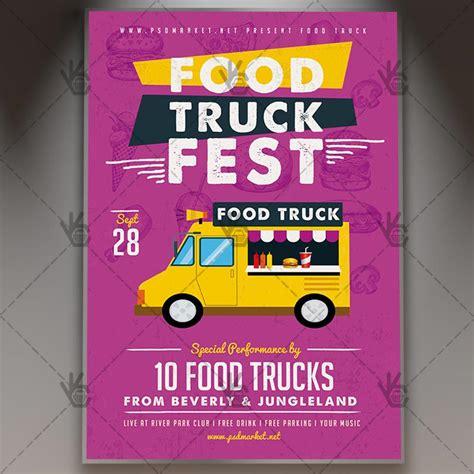 Food Truck Premium Flyer Psd Template Psdmarket Food Truck Flyer Template