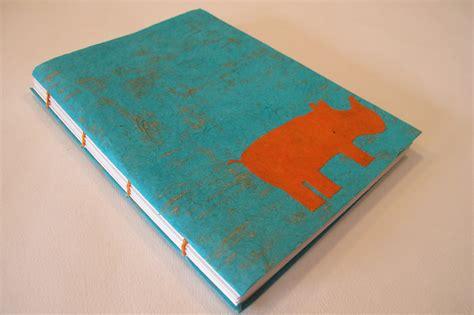Notebook Handmade - rhino handmade journal notebook turquoise and orange