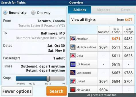 onthefly fast user friendly airfare search tool for smart phones lifehacker australia