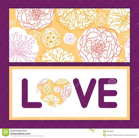 vector warm day flowers text frame pattern stock