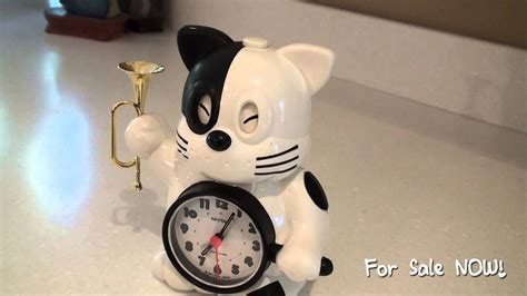 vintage rhythm japan cat alarm clock plays bugle reveille