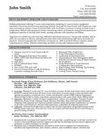 Machine Operator Resume Exles by Heavy Equipment Operator Resume Sle Template