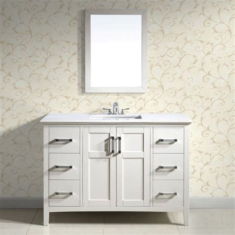 48 Inch Bathroom Vanity White Salem White 48 Inch Bath Vanity With 2 Doors And White Quartz Marble Top