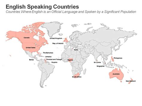 what are the speaking countries speaking countries powerpoint map editable ppt