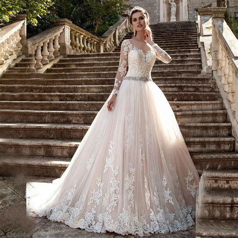 bridal dresses with sleeves discount chagne lace sleeve wedding dresses sheer