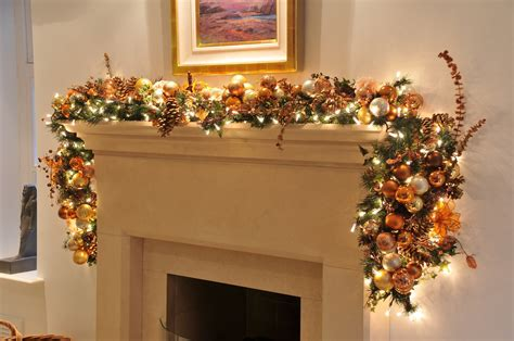 garland ideas christmas fireplace garland ideas inspirationseek com