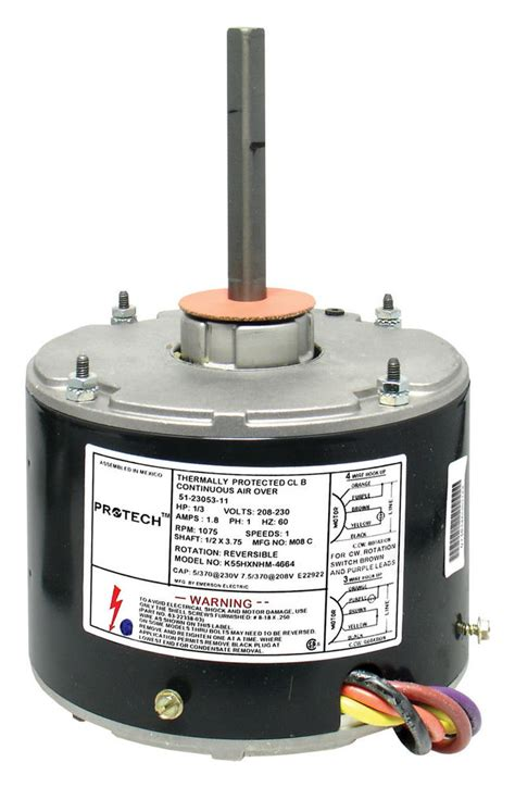 1 3 hp fan motor 51 23053 11 rheem ruud condenser 1 3 hp 1075 rpm 208 230
