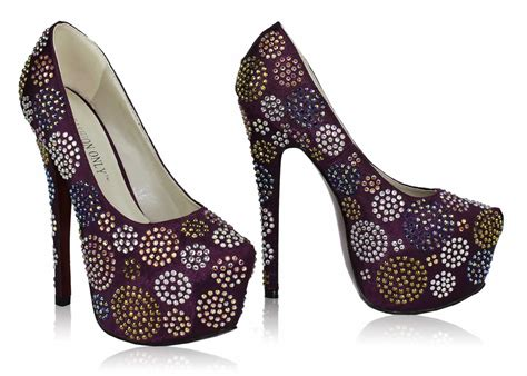 shoes lss00116 purple diamante embellished platform