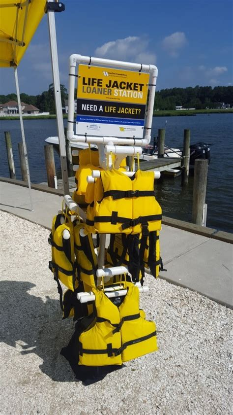 life jacket rack sea tow foundation life jacket loaner program delaware