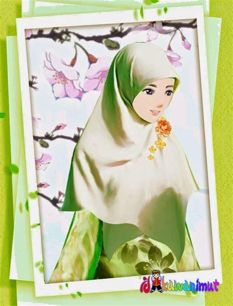 gambar animasi keren gambar kartun wanita muslimah berjilbab cantik dan anggun