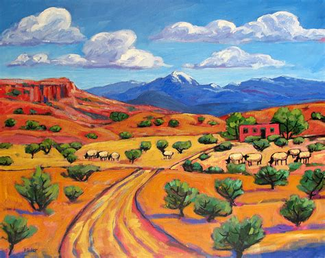 Interesting House Plans by New Mexico Landscape With Sheep Painting By Patty Baker