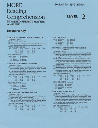 reading comprehension test with answer key more reading comprehension 2 answer key school