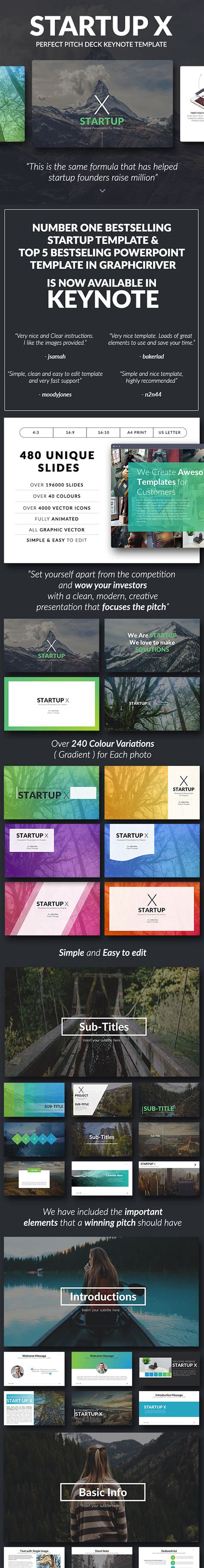 Startup X Perfect Pitch Deck Keynote Template Best Designers Startup Keynote Template