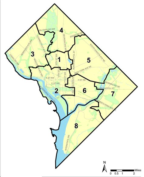 washington dc map of wards ward 1 of the district of columbia
