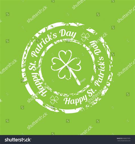 rubber st text white grunge rubber st clover text stock vector