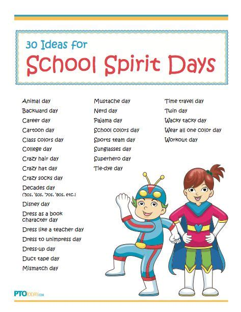 list theme days fun ideas for celebrating school spirit days event