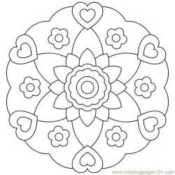 heart flower circle printable coloring page for kids and