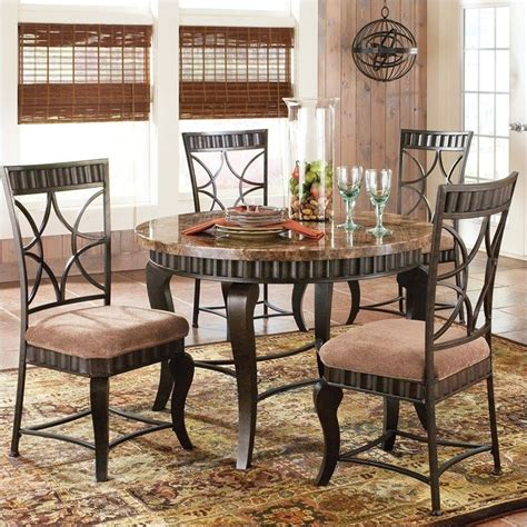 Marble Dining Room Table Set Steve Silver Company Hamlyn 5 Marble Top Dining Table Set In Pewter Hl500t 5pc Dining Pkg