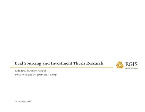 equity investment thesis equity origination and investment thesis research