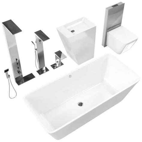 White Bathroom Fixtures by White Bathroom Fixtures 3d Model Cgtrader