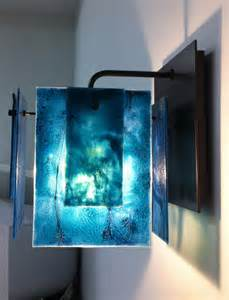 Office Wall Sconces Custom Aqua Glass Wall Sconce Contemporary Seattle