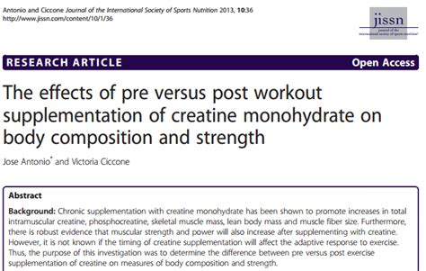 creatine empty stomach creatine research postworkout intake may be better