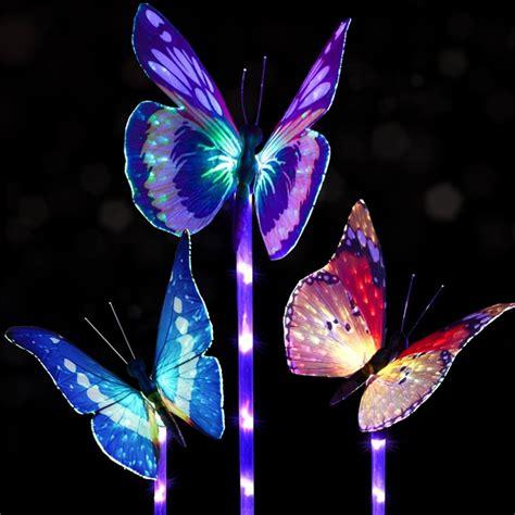 3pcs Solar Multi Color Fiber Optic Butterfly Led Stake Solar Butterfly Light Garden Stake