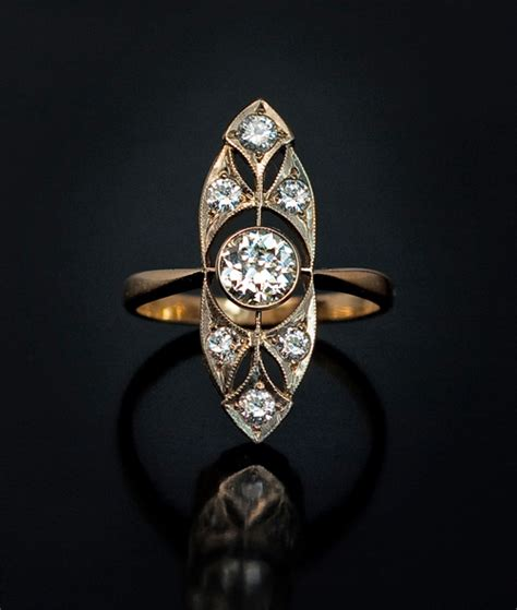art deco vintage diamond gold ring russian vintage deco