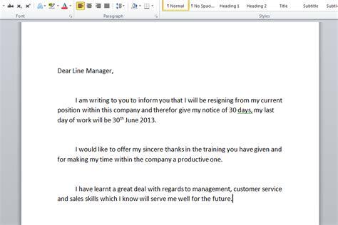 sample resignation letter monster com