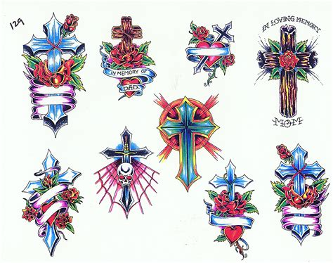 cross tattoo flash cross color tattoos