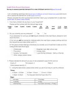 Marketing Questionnaire Template by Sle Market Research Questionnaire Template Free
