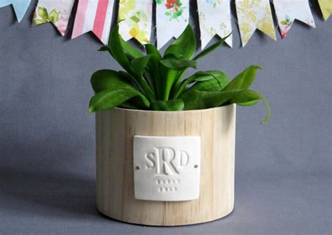 monogram planter personalized wedding gift monogrammed wood planter