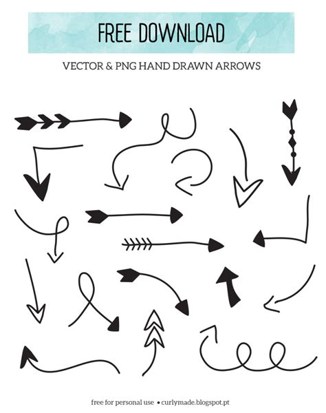 free doodle arrow vector curly made free arrows