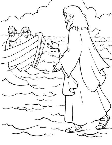 Gambar Mewarnai Yesus Berjalan Di Air Untuk Anak Sekolah